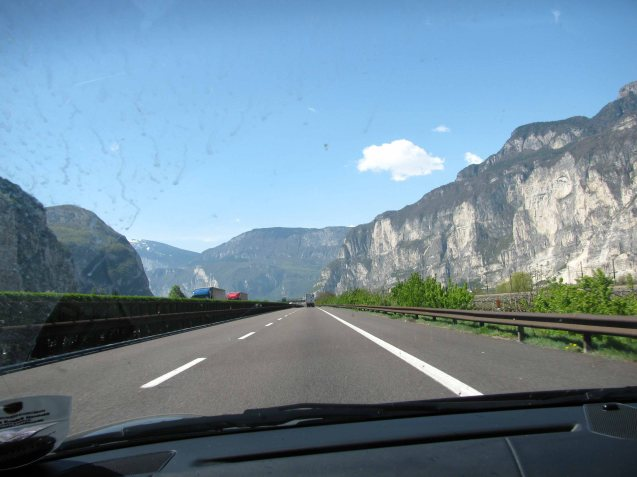 The A13 Brenner motorway in Austria, heading to Rome, 480 miles away. It's mid morning, Wednesday 21 April 2010.