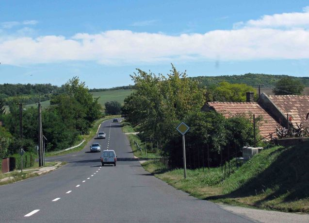 HUNGARY - on Route 82, the main road from Györ to Lake Balaton, the Hungarian Riviera, September 2011.