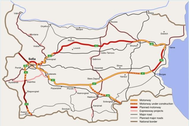 The Bulgarian motorway network.