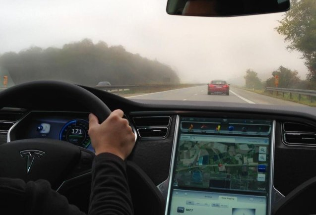 A Tesla Model S on the German autobahn at an indicated 171kph - 106mph, on the company's recent central Europe dealer tour. The cars make their final stop in Copenhagen on Friday and Saturday, 22-24 February. Contact for details.