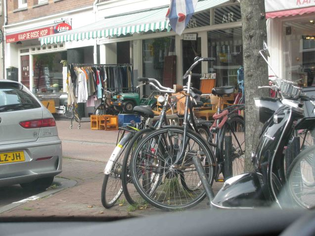 Haphazardly chained bikes are a common feature of the Amsterdam street scape