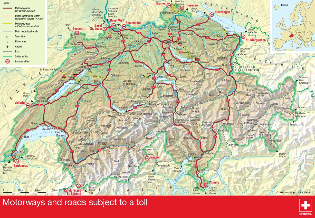 New Swiss tourist vignette still bad value for visiting drivers – Tourist Map of Switzerland