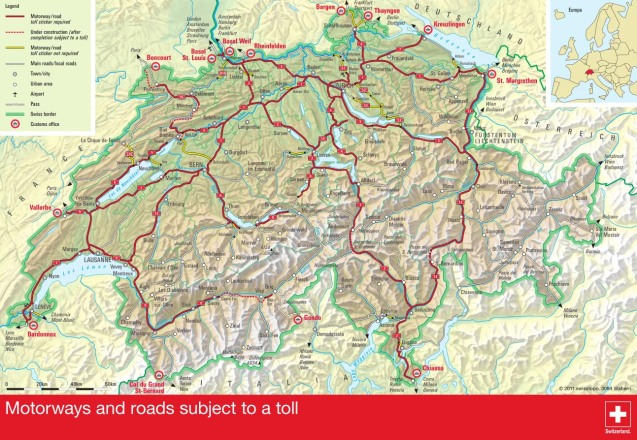 The chargeable Swiss rad netork. In 2015 more roads will be taken into the scheme.