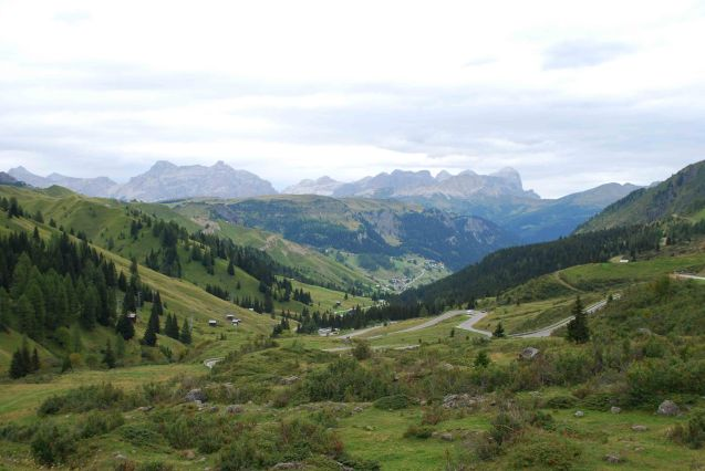The top of the Pordoi Pass in the High Dolomites, northern Italy, looking east.