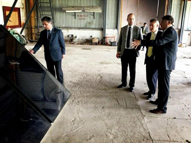 The visit includes a visit to the Free Economic Zone near Khujand where they visit factories making Solar panel factory, paint factory, window frames. Businesses tell Leigh Turner they are 'desperately short of trained staff', one area in which the UK can help.