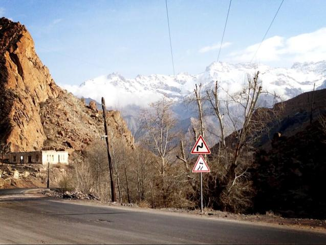 Running west east through Dushanbe is the M41 Pamir Highway, a northern section of the ancient Silk Route and the world's second highest international road. The M34 road north from Dushanbe to Khudzand crosses the western edge of the Pamirs where they reach a maximum 15,000ft.