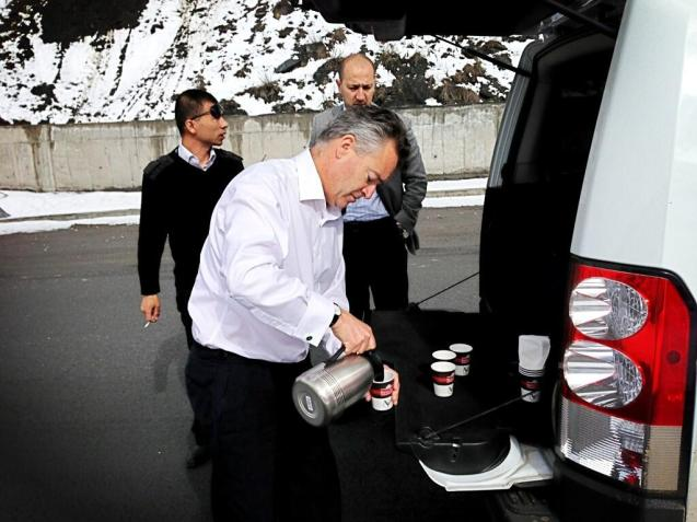 What do the English do when stranded in a ditch? Have a cup of tea of course. Served by HM Ambassador to Tajikistan, Robin Ord-Smith.