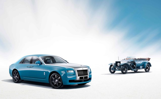 Rolls Royce marks the centenary of its landmark Alpine Rally victory with a 'Bespoke' special edition of its Ghost saloon. Featuring the special shade of xxxxxx blue worn by the 1913 works team and gloss black wheels and grill (apparently 'the first time a painted grille has adorned a contemporary Rolls-Royce motor car').