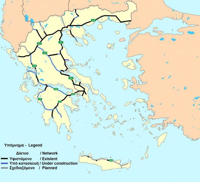 The construction project includes upgrades to the A1 in two sections, from Thessalonica in the north to Lamia and from thjere to Athens (the Aegean and Ionian motorways). Also, the A8 between Patras and Corinth and A3 between Lamia and the Igoumenitsa-Thessalonica A2.
