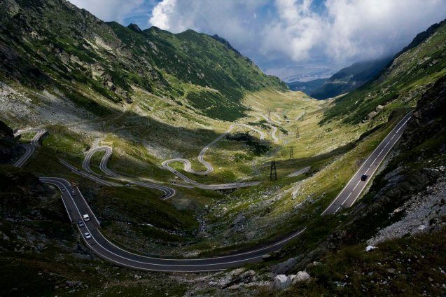 Transfagarasan - built by dictator Ceausescu in the 1970s. Photo looking north towards Sibiu from just below Lake Balea, altitude xxxxft. Running parallel X miles west is Transalpina, another spectacular road, built by the German Army in the 1940s. © Horia Varlan