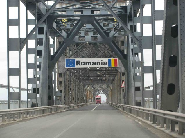 The Giurgiu-Ruse Bridge over the Danube between Bulgaria and Romania.