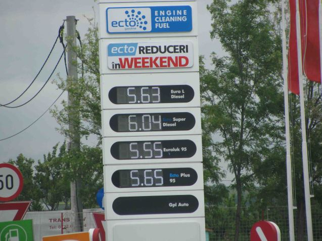 At todays rate of exchange - £1 is just over five Romanian New Leu (RON) - a litre of diesel will set you back xxp, even cheaper than Greece and Bulgaria.