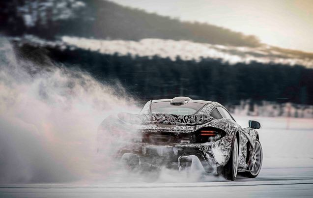 More pictures of the new McLaren P1 in final testing in Arjeplog, arctic Sweden ahead of first customer deliveries.