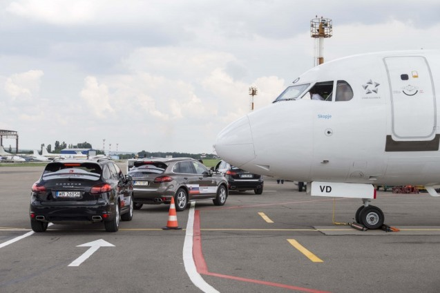 Day One, Chisinau – naturally, competitors were met directly off the plane, by a fleet of Porsche Cayenne Diesel S.