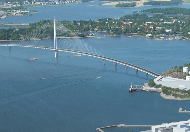 The Finnish-British civil architects WSP Finland has won a design competition for a 3km landmark road/tram/pedestrian bridge linking eastern island suburb Laajasalo with the centre of Helsinki. The proposed structure won plaudits for its 'light and airy' design. Construction should start in 2018 all being well. The company recently won an award for its Crusell Bridge in the west of the city. WSP operates worldwide, including Poland and Romania. Brave!