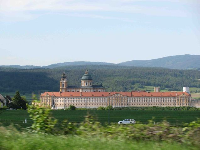 Melk Abbey as seen from the A1 West Autobahn in Austria halfway between Vienna and Salzburg. Built in the early 18th century, with five internal courtyards, the Benedictine monastery overlooks the Danube. Definitely worth a look next time.