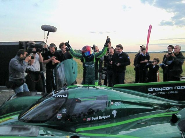 'Wow. That was something. We just got it done as the light was fading.,' said Lord Drayson (@LordDrayson) after setting the World Land Speed Record for a 'lightweight electric car' (under 1000kg) at Elvington Airfield in Yorkshire yesterday. His Lola B12 69/EV hit 204.185mph, beating the previous record of 175mph set in 1974. Also present at the event as Google chairman Eric Schmidt. According to F1 journalist @JoeSaward the outright record for an electric vehicle is 307.666mph set in 2009 by the Buckeye Bullet of which an updated version is under development at the moment. Drayson is at Elvington again today to attempt the record for EV acceleration.