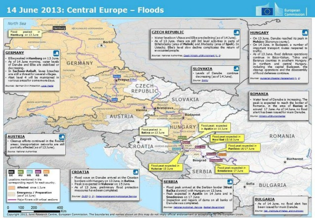 Central European floods as at 16:00 Friday