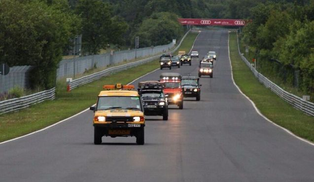 The Help for Heroes Rally crews enjoy a well earned lap of the Nurburgring.