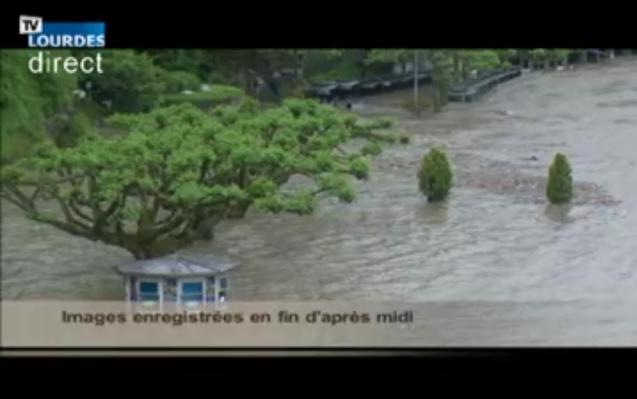 Flashfloods: the Esplanade webcam, Lourdes, south west France this afternoon