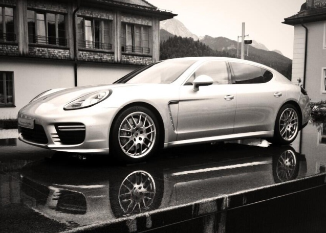 A moody Panamera at the facelifted Porsche's international press launch in Elmau, Bavaria yesterday.