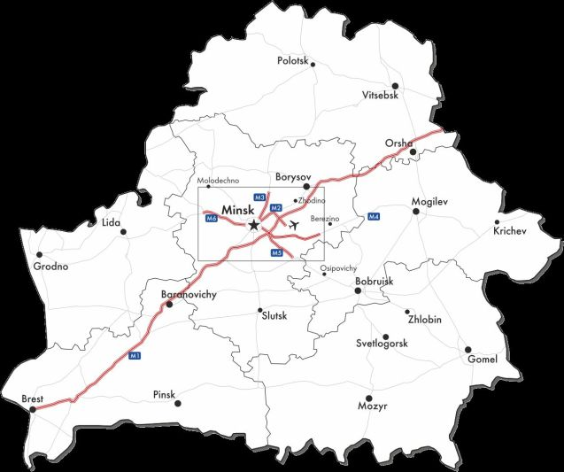 For whom the BelTolls: roads in red covered by Belarus' new radio road toll system.