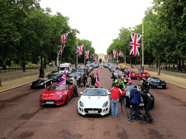 Top Gear was out and about on the Mall, London, yesterday for what they describe as its most ambitious shoot ever... in addition to the red, white and blue (black?) Jaguar F-TYPES was a McLaren P1 hypercar (see right). The new series begins on Sunday, June 30th at 8pm, BBC Two.