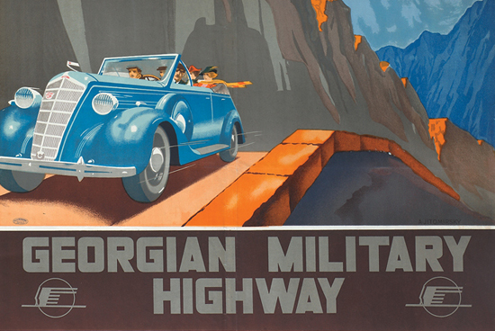 Totalitarian chic: from an exhibition of Intourist posters advertising (among other things) adventurous driving holidays in the former USSR. Held at the new GRAD Gallery, 3-4a Little Portland Street, London W1W until 31 August. Partial repro of 'Georgian Military Highway' by Aleksandr Zhitomirsky, 1939.