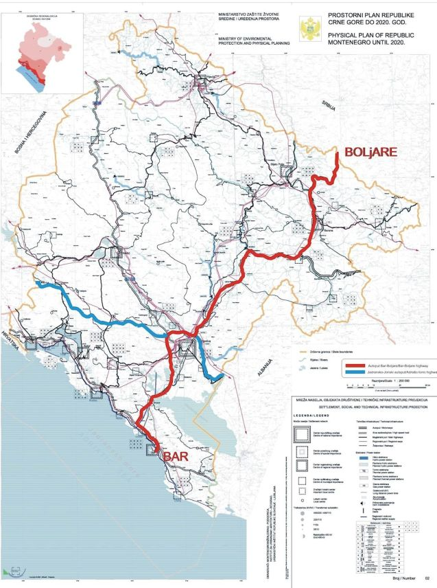 Montenegro - the Bar-Boljare motorway route marked in red.