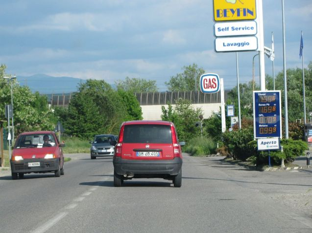A petrol station, Italy. but this one will be open this week because it isn't on a major road.