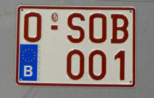An old timer number plate, Belgium