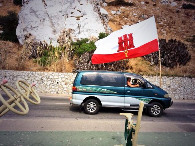 The Gibraltar flag. Photo via @JamesNeish.