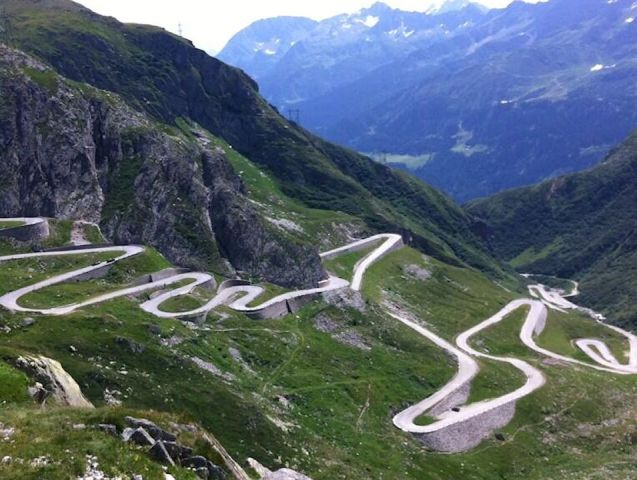 The Gotthard Pass, a much, much better alternative to the tunnel (if it's open).