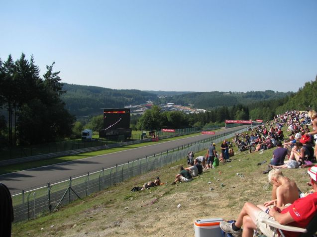 Many famous overtakes have been made along the 1km Kemmel straight, and there's a big TV to catcht he rest of the action, and a great view over the circuit's landscape.