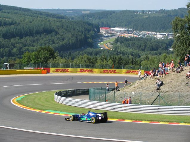 The best all round view we found was from the outside of th Riavge hairpin at thetop of the circuit, not just of the track and the cars but the pitstraight and La Source hair pin in the distance.