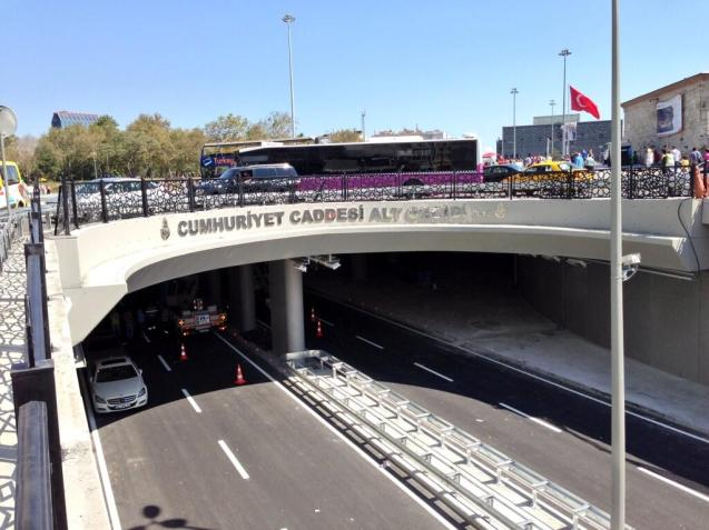 Taksim Square, Istanbul. The underpass - part of a highly controversial redevelopment of the centre of Istanbul - finally opened to traffic yesterday.