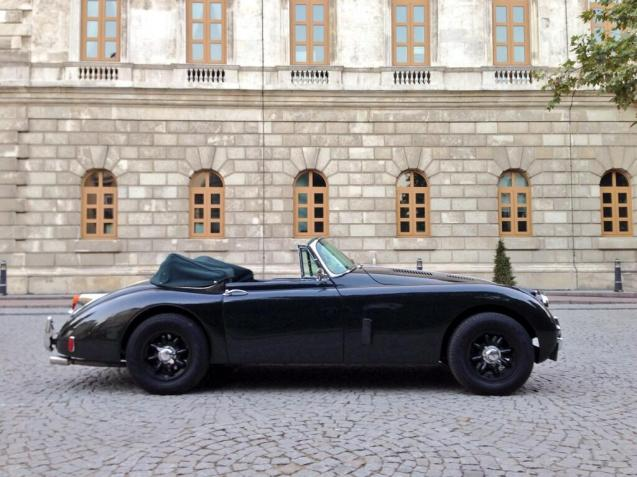 A 1950 Jaguar XK150 Drophead Coupe outside the British Consulate-General in Istanbul today, via @LeighTurnerFCO.