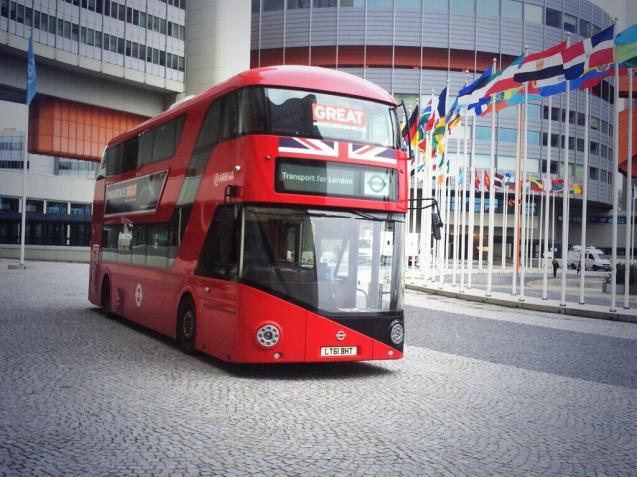 The GREAT Britain bus parked outside the UN building in Vienna this morning. According to