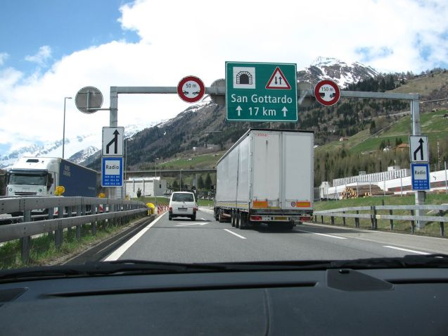 The southern entrance of the Gotthard Road Tunnel in Ticino, Switzerland. Photo DriveEurope.