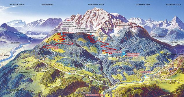 The mountains are the Northern Limestone Alps which run along the border of Germany and Austria. Berchtesgaden lends its name to a group of these mountains. Notable peaks include Watzmann (2,713m) and Hochkalter (2,607m) but it's Hoher Goll, 2,522m (8,274ft) that dominates the view from the road.