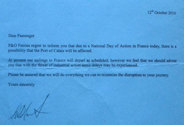 French Day of Industrial Action October 2010: services still ran with minimal disruption.