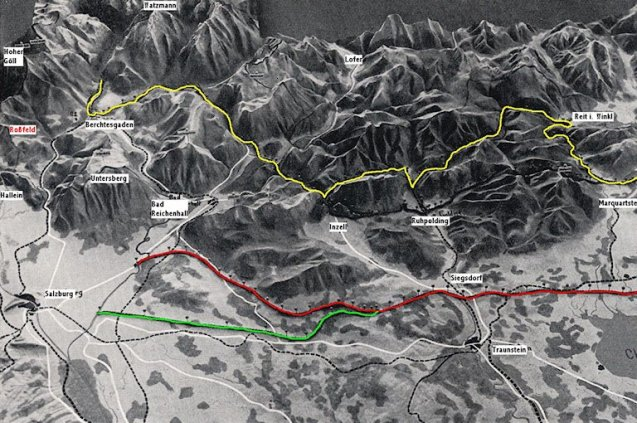 Before the war, the Germans planned a great Alpine Road, stretching 180 miles between Lakes Konigssee and Constance.