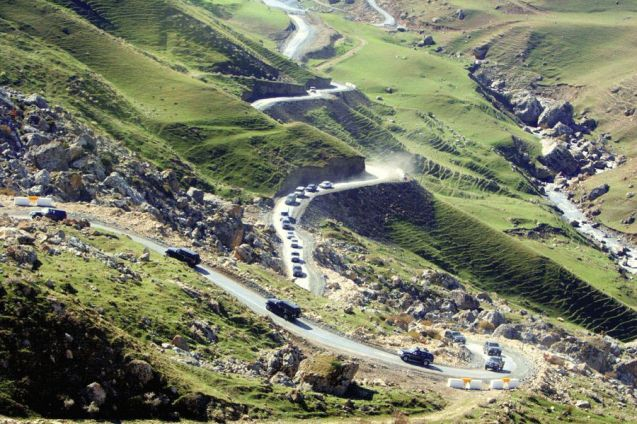 Azerbaijan: a truly random picture, nicked off www.azeryol.az, the state road building company. No idea where it's taken but that's likely a convoy containing President Ilham Aliyev driving into the Caucasus mountains. What we call, 'too little information'.