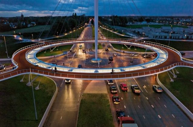 Having cycled in the Netherlands we know the dedicated infrastructure over there isn't always quite as wonderful as some in the UK like to believe. However, this floating cycle roundabout, the Hovenring at Eindhoven, certainly qualifies. Photo via @jpaudouy. Did you know, by the way, that cyclists in the Netherlands can be fined €50 for riding without lights, and another €35 for not having proper reflectors? The authorities kicked off a new awareness campaign this week.