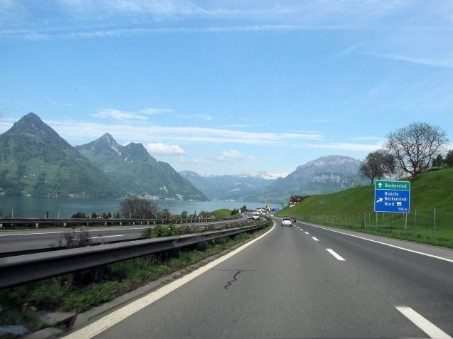 Switzerland: the A2 southbound at Lake Lucerne. A great view, but is it worth 100CHF?