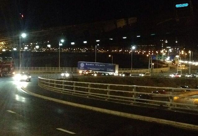 Traffic on Jubilee Way, the flyover down to the roundabout outside Dover Docks was blocked for several hours ast night