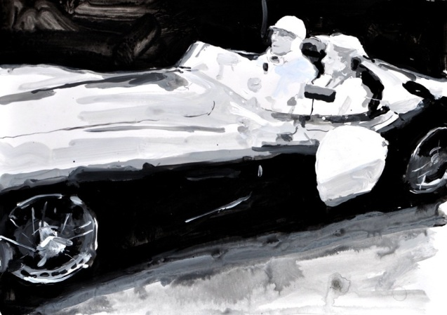 Sir Stirling and Lady Moss in the DBR1, Nurburgring. Artist James Hart Dyke spent a year with Aston Martin, at the factory, Le Mans, the Nurburgring 24 Hours and other Centenary events. The results are on display at the company's Park Lane showroom until 29 November (apart from tomorrow). The originals are available to buy, at prices ranging from £1-10,000, though there are also some limited edition prints for sale. See www.JamesHartDyke.com for more.