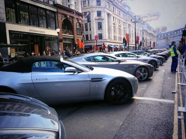 The Regent Street Motor Show. Over 300 cars from the past 125 years of motoring took over one of London's most famous shopping street yesterday, from Oxford Circus to Piccadilly Circus. Porsche put on an apparently disappointing display of 911s to mark its 50 years. Altogether more impressive, according to reports, was the run of Aston Martins, there to celebrate the manufacturers' centenary. Many of the older cars take part in today's London to Brighton Veteran Car Run. Photo via @AstonMartin.