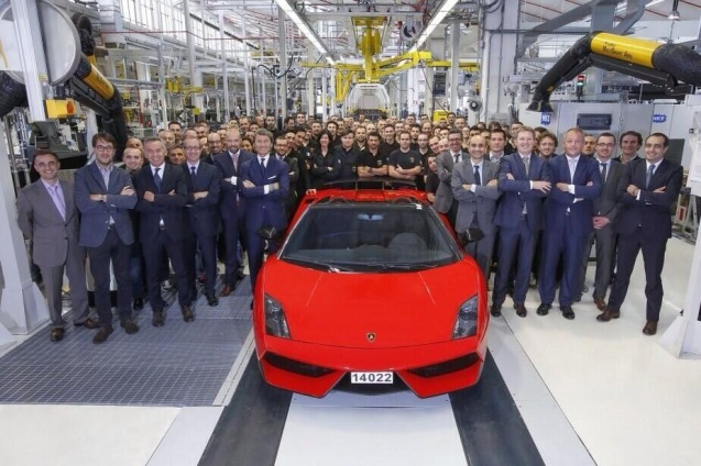 Desperado: the final Lamborghini Gallardo rolls off the production line - a LP570-4 Spyder Performante in Rosso mars - in Sant Agata, Italy, yesterday