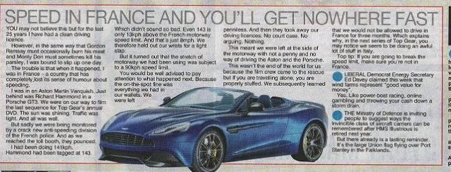 Jeremy Clarkson's column, The Sun, 19 October 2013. Driving licences are returned via the British Embassy in Paris and the DVLA. Tip via WhiteVanWoman at www.FinalGear.com